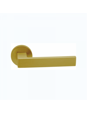 JANDEL SATIN BRASS ROUND PLAQUE DOORHANDLE