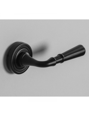Black round plate door handle.
