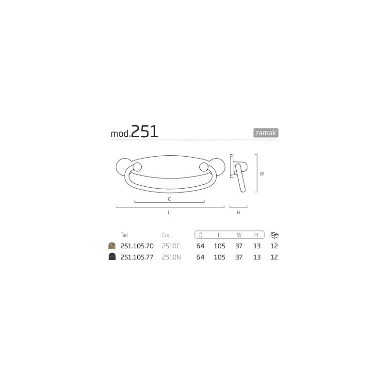 NESU 2510 OLD BRASS HANDLE